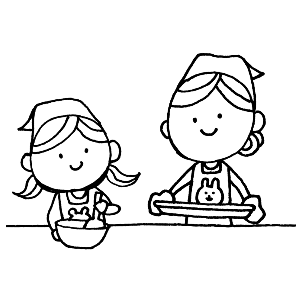手書き風,人物,親子,お母さん,子供,料理,母,娘,キッチン,バレンタイン,2月14日,お菓子作り,お菓子,クッキング