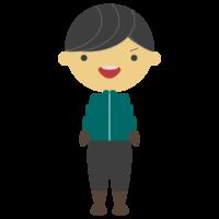 ダウンジャケットを着る男の子のフリーイラスト