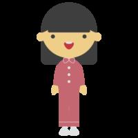 パジャマ姿の女の子のフリーイラスト