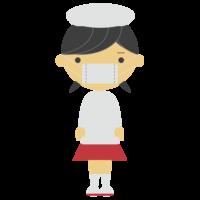 割烹着を着る女の子のフリーイラスト