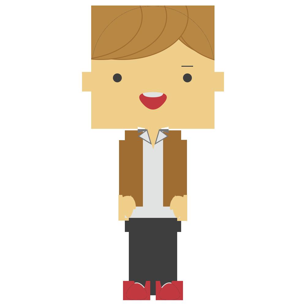 茶髪の男子学生のフリーイラスト