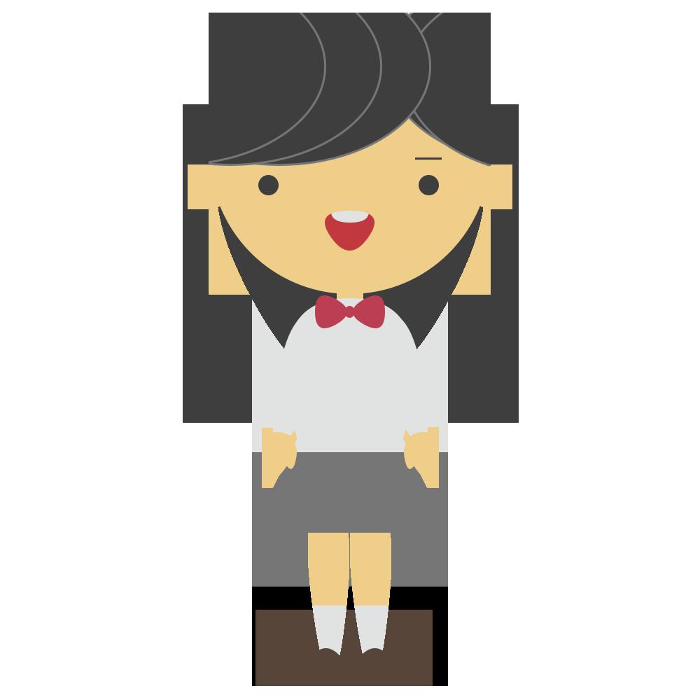 リボンを付けた制服の女子学生のフリーイラスト