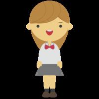 茶髪の女子学生のフリーイラスト