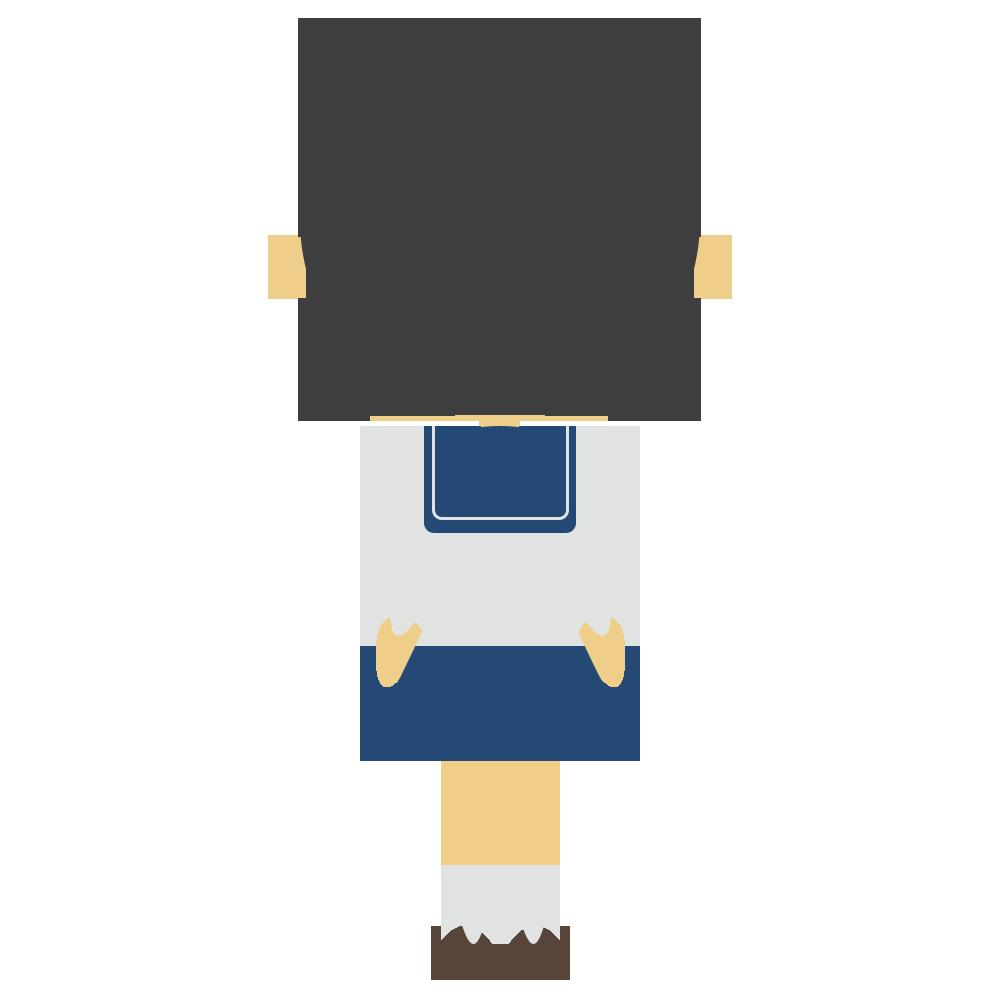 セーラー服の後姿の女子学生のフリーイラスト