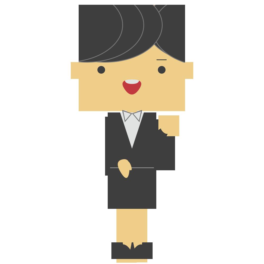左手を上げたスーツの女性のフリーイラスト