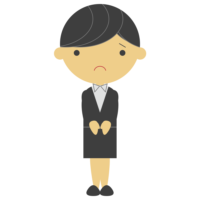 悲しむのスーツの女性のフリーイラスト