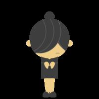お辞儀をするスーツの女性のフリーイラスト