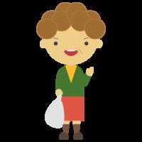 スーパーの袋を持ったパーマの女性のフリーイラスト