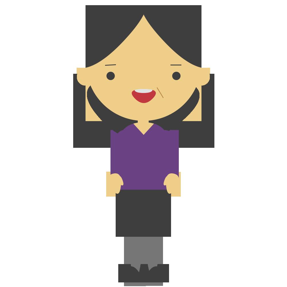 紫の私服の女性のフリーイラスト