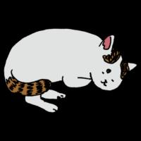 手書き風,寝る,ネコ,猫,ねこ,動物,可愛い,まるまる,うたた寝,寝る,しっぽ,まるくなる,手枕,八額,CAT,うとうと,すやすや