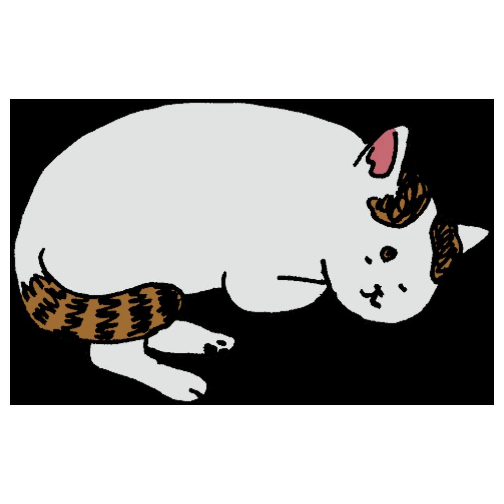 寝る白ネコのフリーイラスト