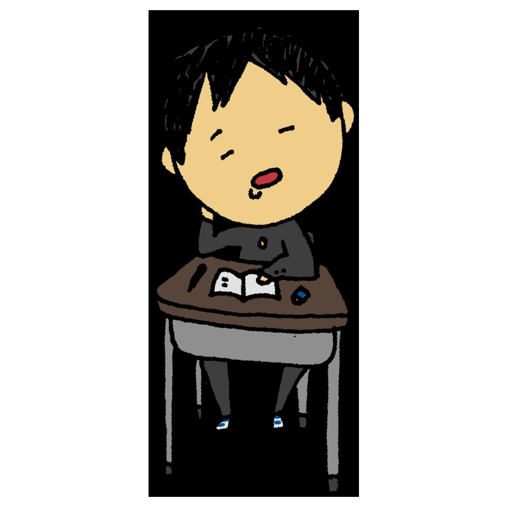 机で居眠りをする男子学生のフリーイラスト