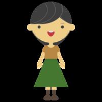 緑のスカートを履いた私服の女性