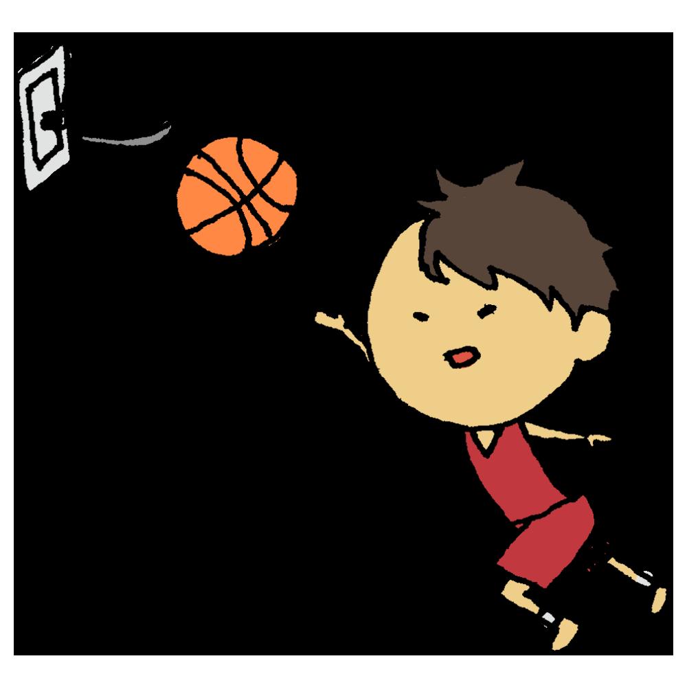バスケットボールのシュートをする男の子のフリーイラスト
