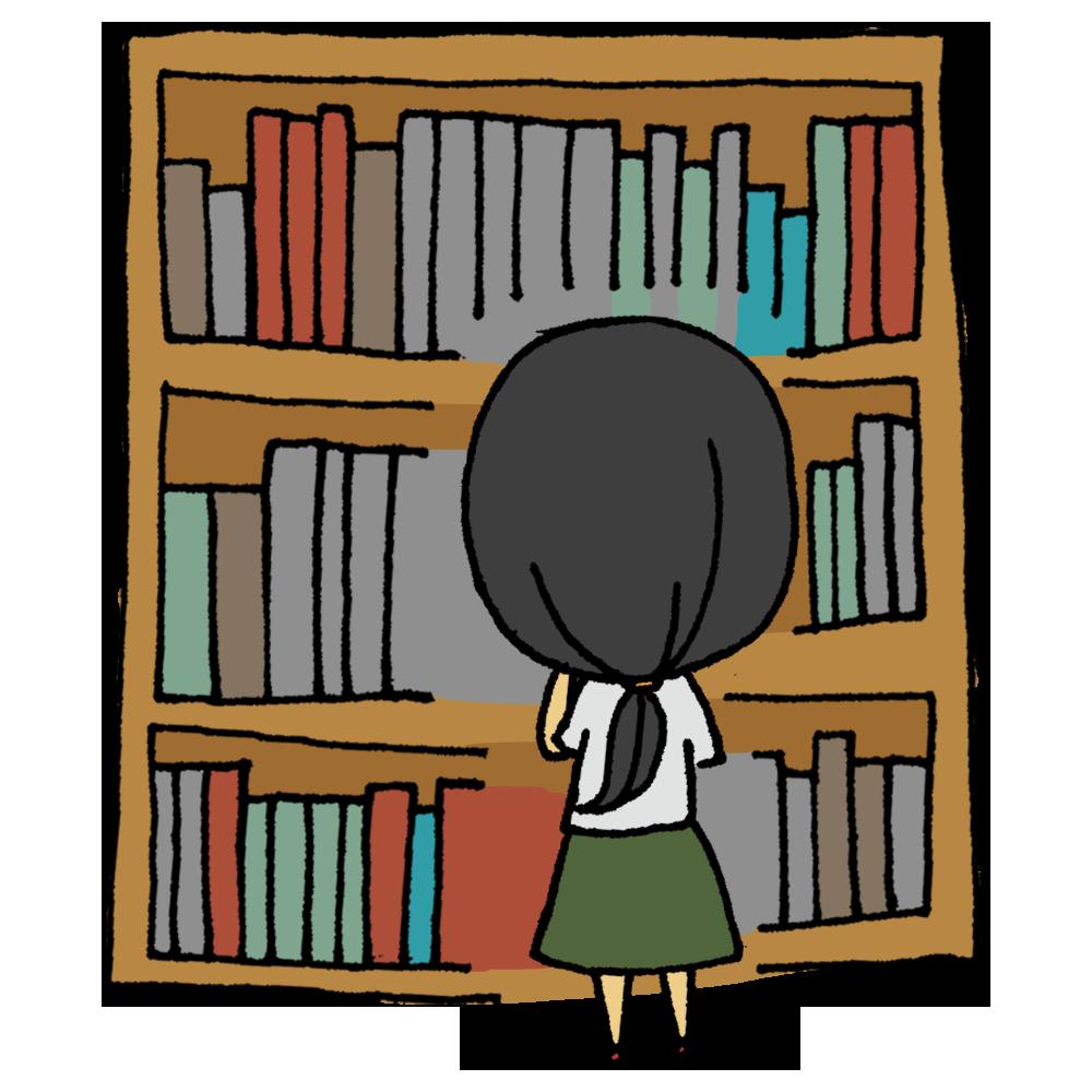 本,本棚,選ぶ,女性,人物,図書館,図書室,ボールペン書き