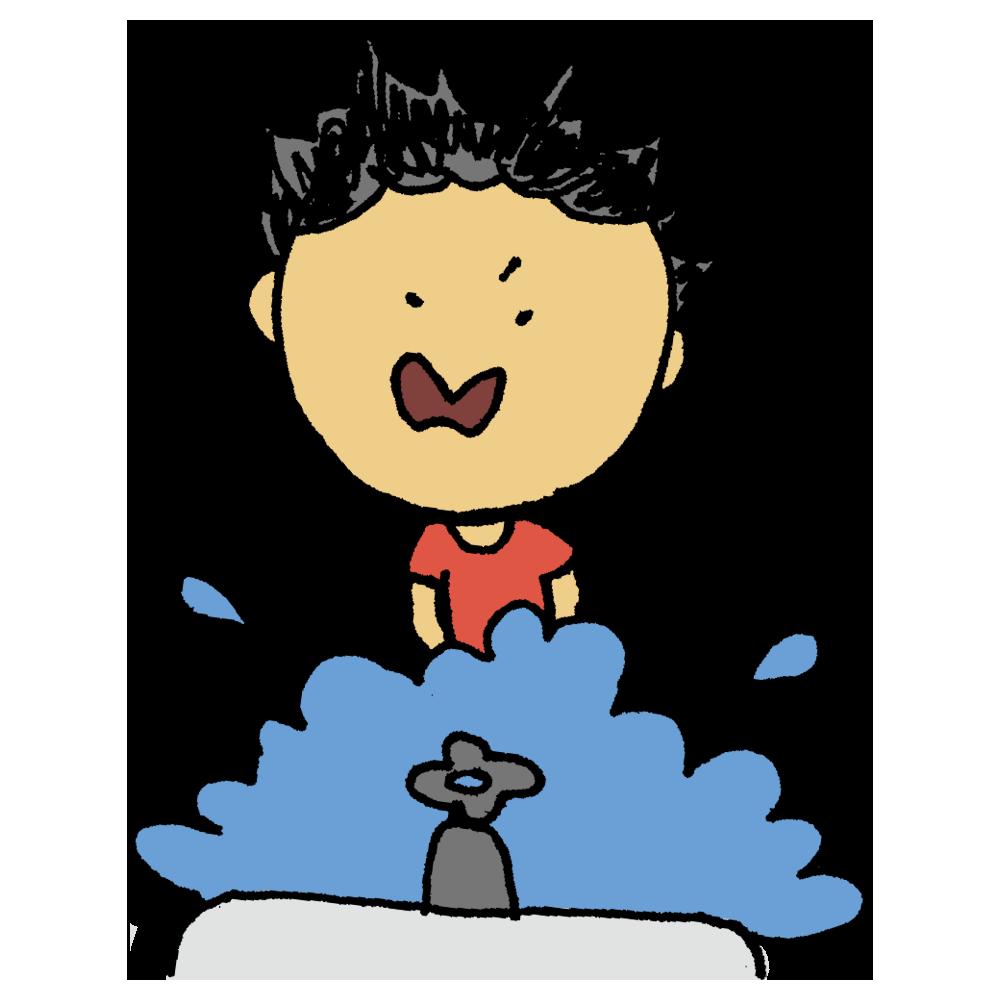 勢い良く手を洗う男の子のフリーイラスト
