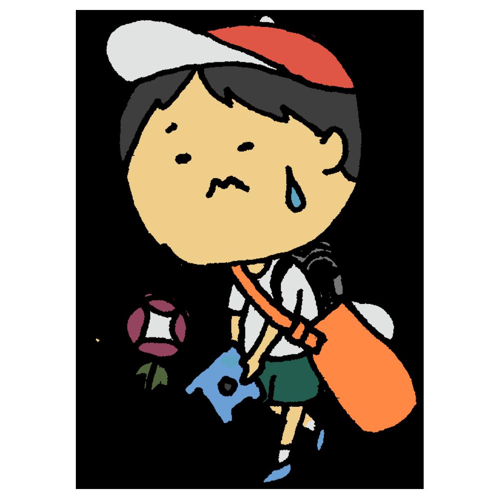 夏休みの前に大荷物を持ち帰る男の子のフリーイラスト