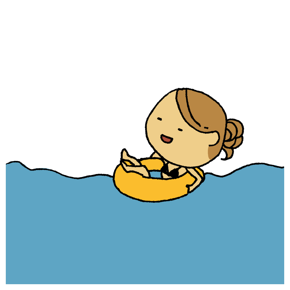 浮き輪で水に浮かぶ女性のフリーイラスト