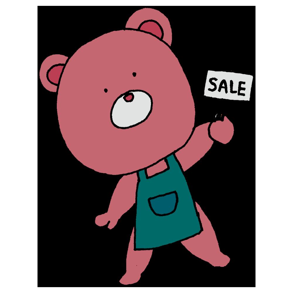 着ぐるみ,店員,クマ,SALE,安売り,店,人物,手書き風,SALE,セール,特売,安い,くま,熊,ショッピング,仕事,売る,買う