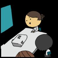 プロジェクターを使って会議をする女性のフリーイラスト