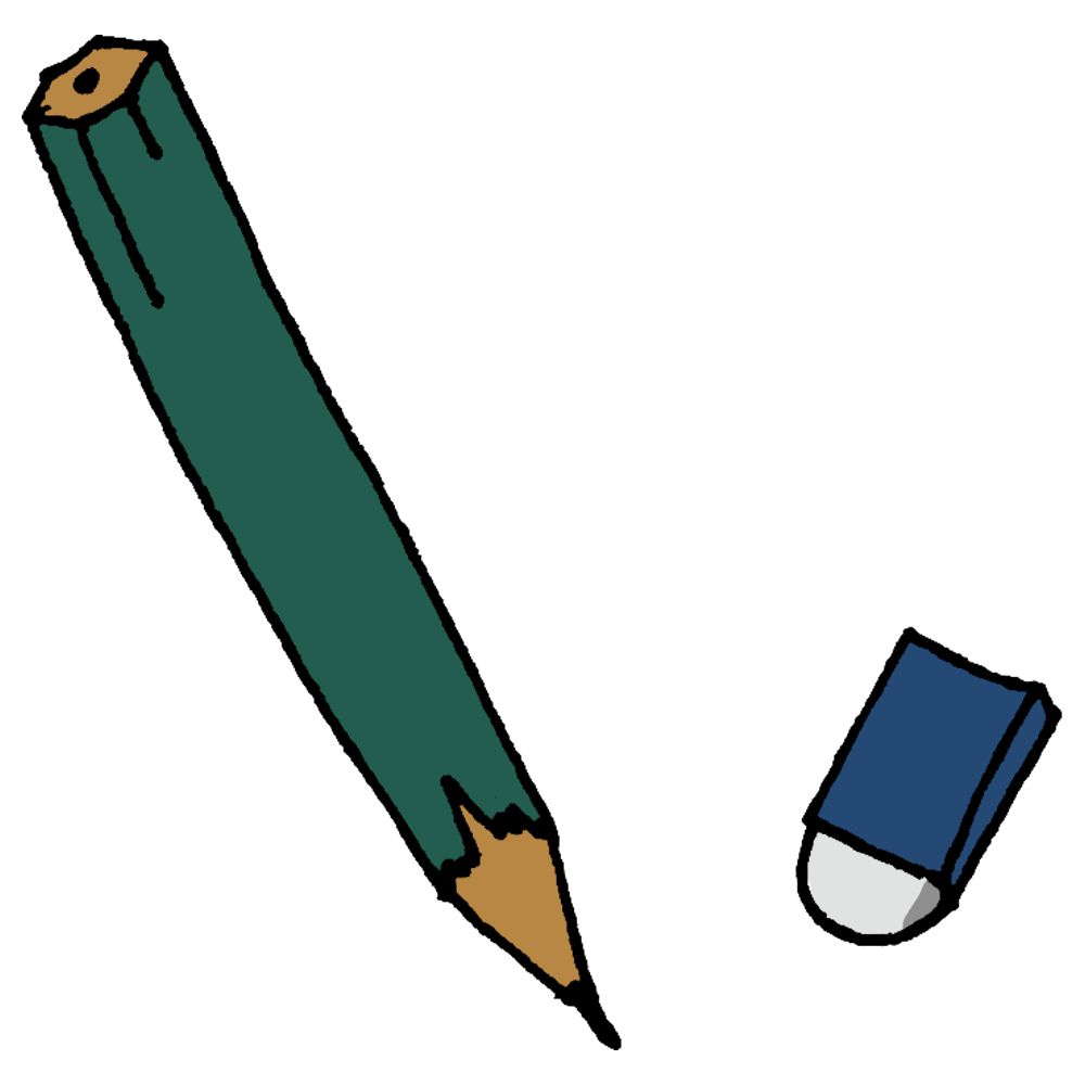 鉛筆と消しゴムのフリーイラスト