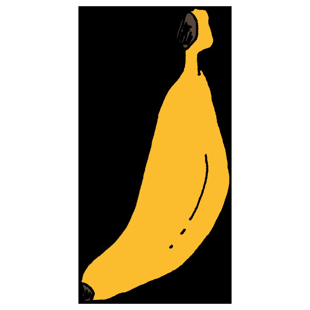 1本,バナナ,果物,食材,食べ物,手書き風