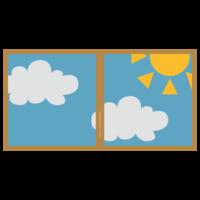 晴れた日の二枚窓のフリーイラスト
