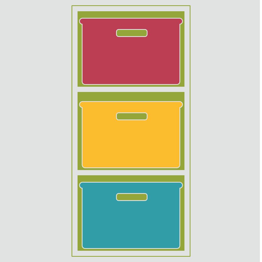 収納ケースを入れたカラーボックスのフリーイラスト