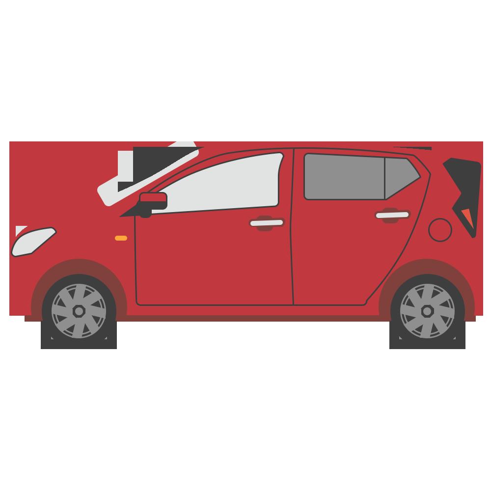 横向きの車のフリーイラスト