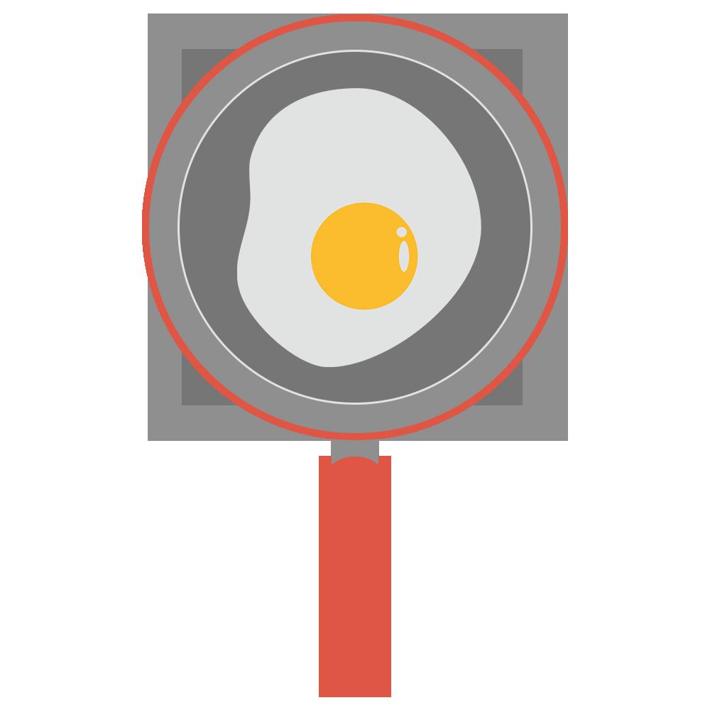 卵ののったフライパンのフリーイラスト