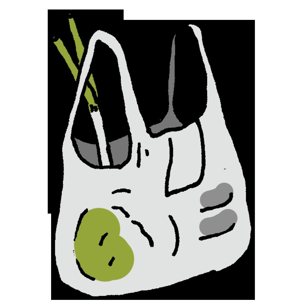 レジ袋に入った食材のフリーイラスト