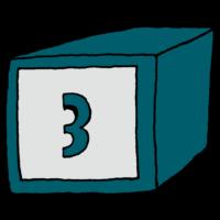 箱に書かれた数字の3のフリーイラスト