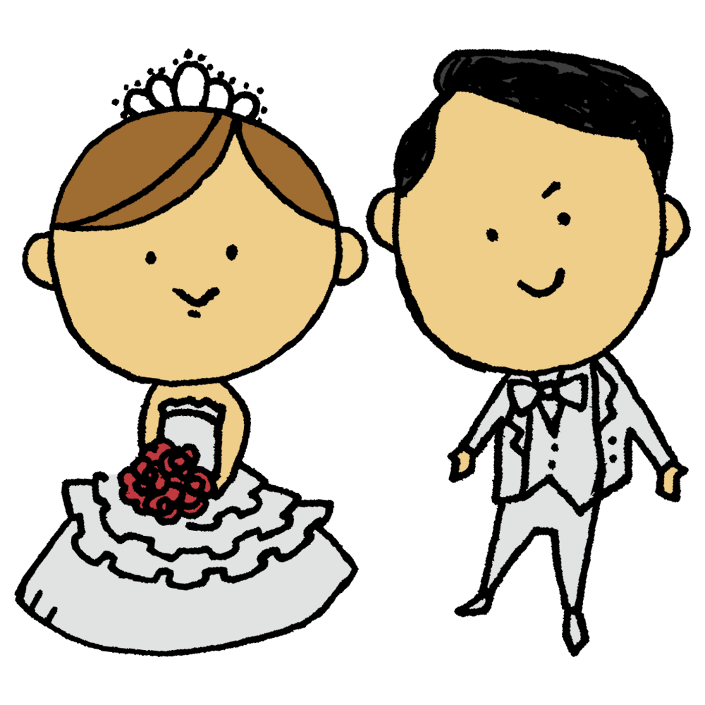 結婚式,ウェディング,夫婦,家族,結婚,お祝い,めでたい,人物,手書き風,男性,女性