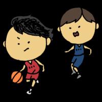 バスケットボールの試合をする女の子のフリーイラスト