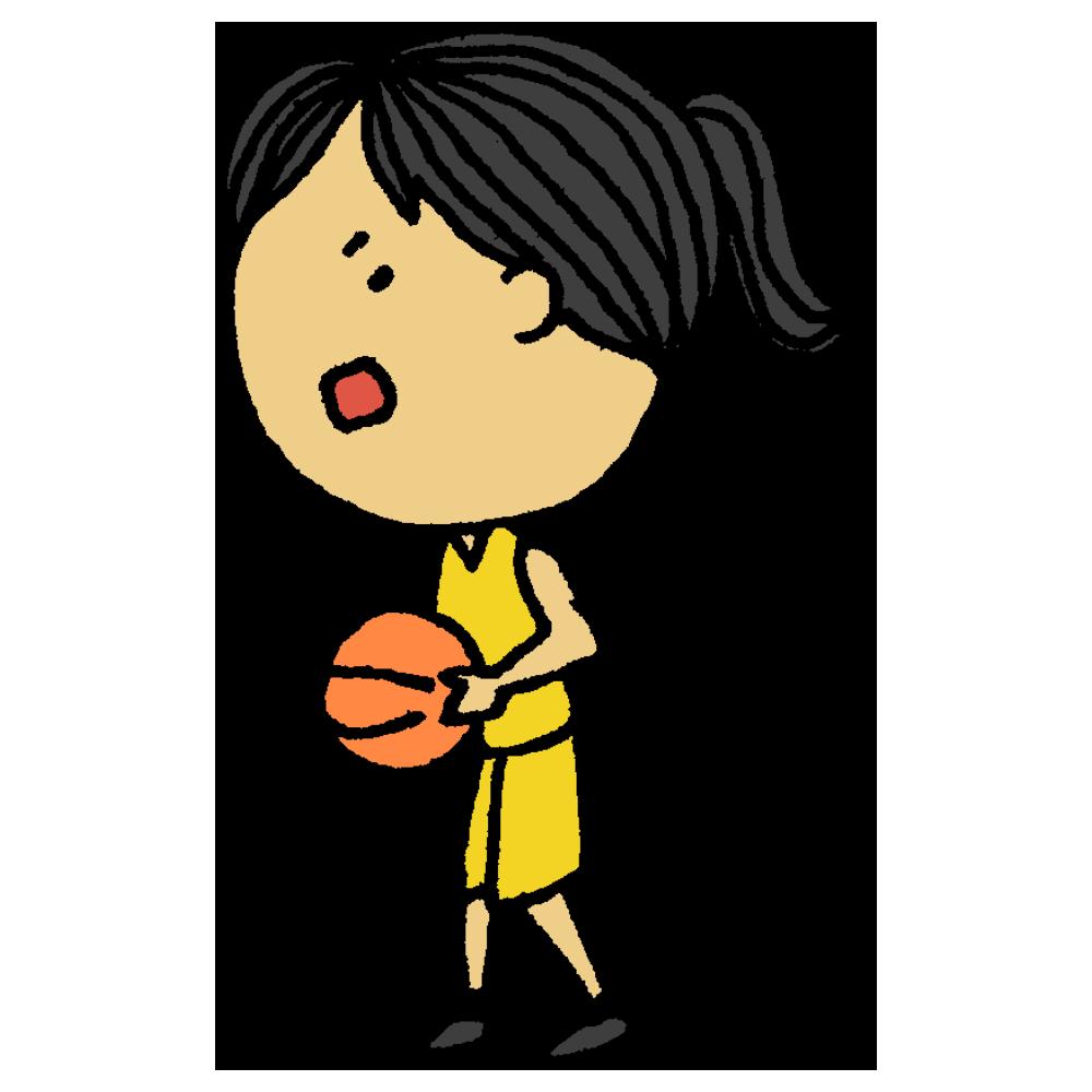 バスケットボールを投げようとする女の子のフリーイラスト