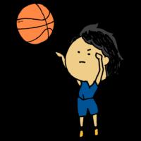 バスケットボールを投げる女の子のフリーイラスト