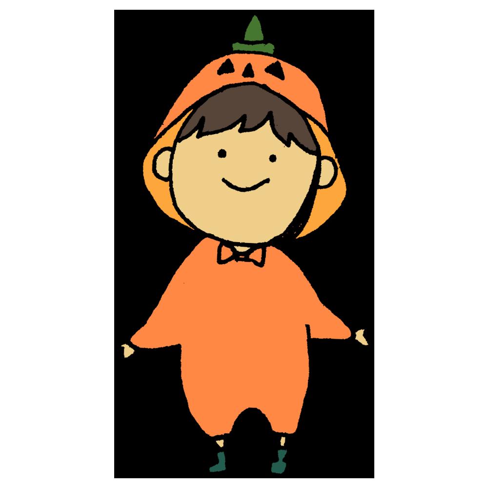 かぼちゃ,着ぐるみ,コスプレ,仮装,ハロウィン,ジャックオーランタン,子供,人物,手書き風