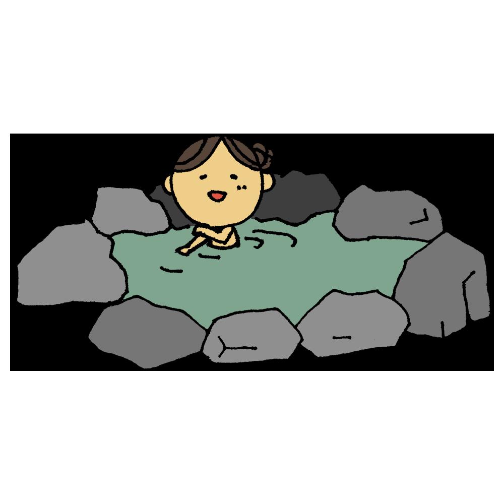 温泉に入る女性のフリーイラスト