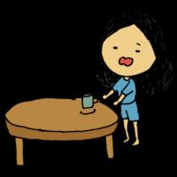 寝起き,コーヒー,女性,ロングヘア,人物,手書き風,朝,飲む,ちゃぶ台,机,食卓,ローテーブル,インテリア,起きる,パジャマ