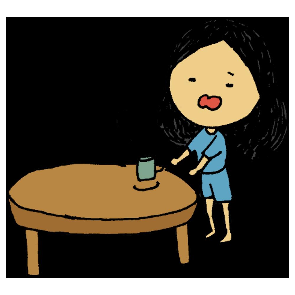 寝起きにコーヒーを飲む女性のフリーイラスト