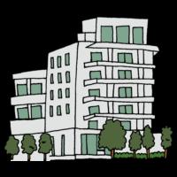 住宅,マンション,木,家,賃貸,分譲,建物,住む,手書き風