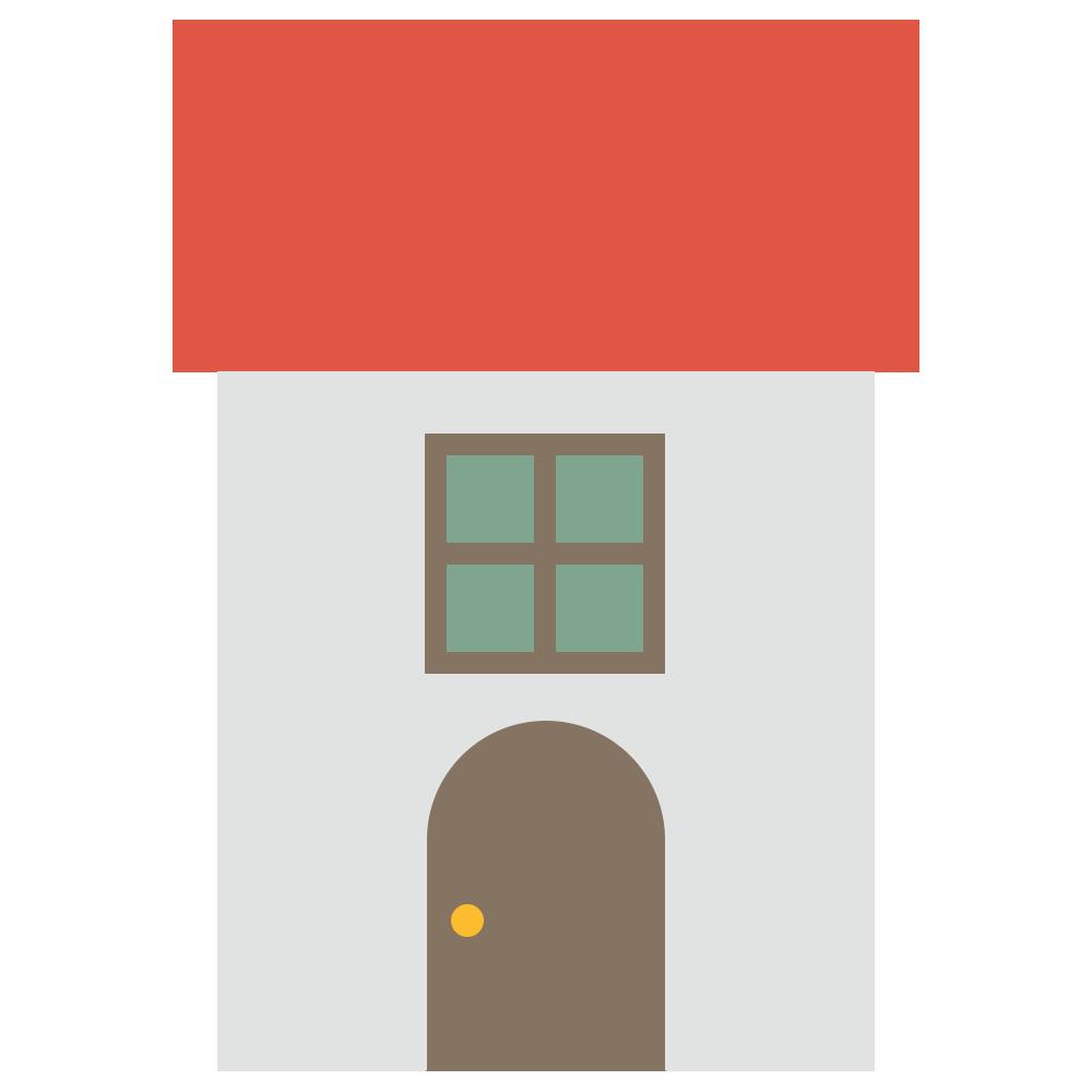 赤い屋根の家のフリーイラスト