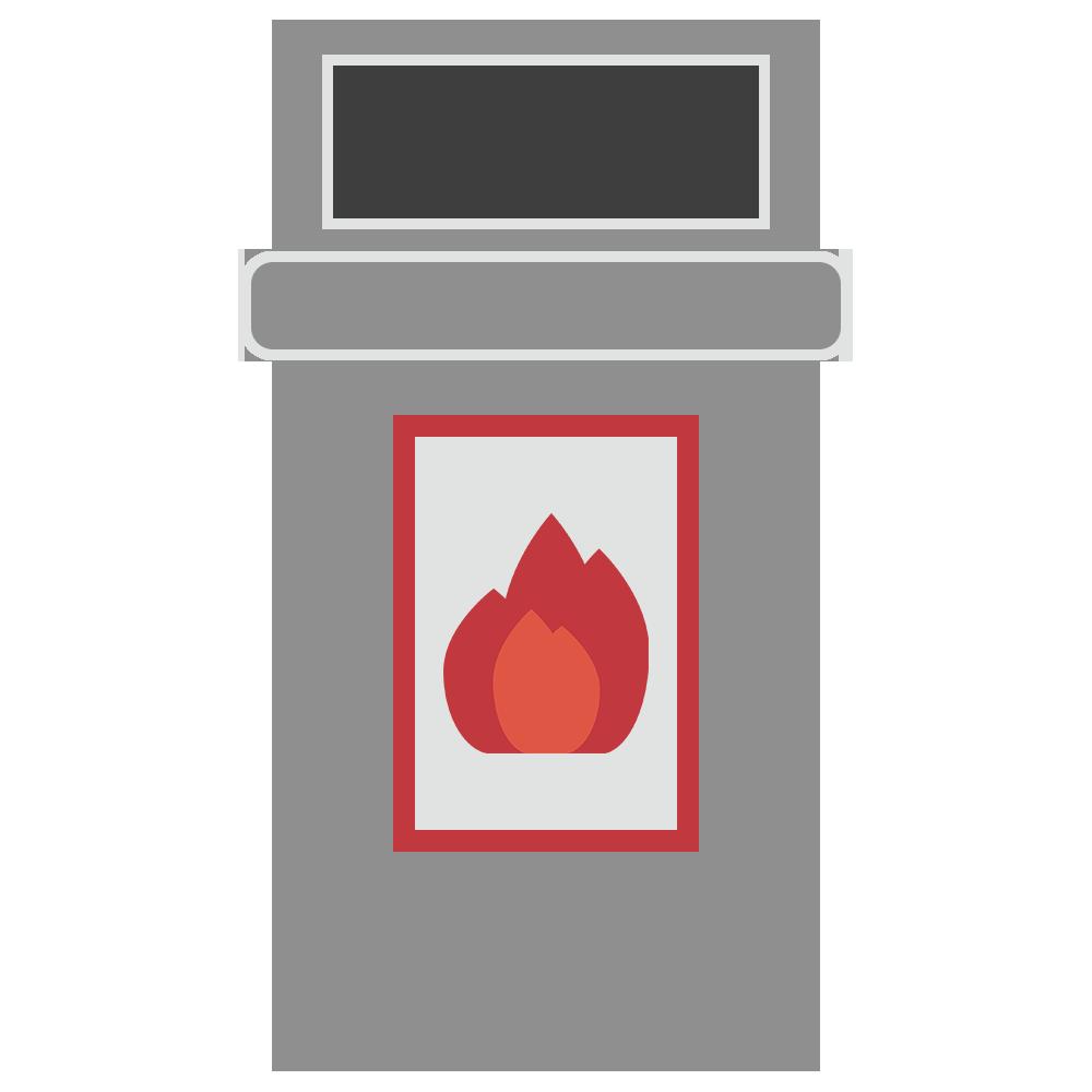 燃えるゴミのゴミ箱のフリーイラスト