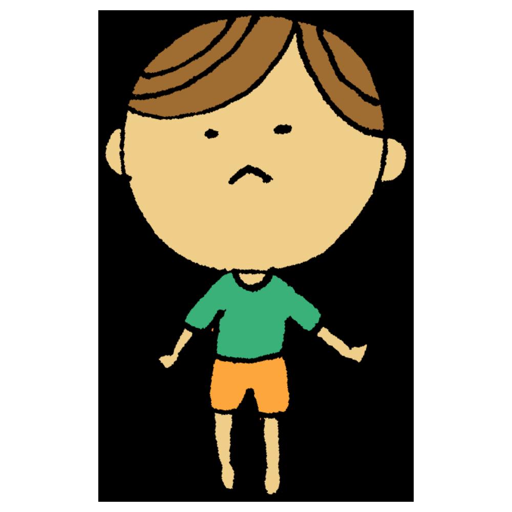 背伸びをする男の子のフリーイラスト