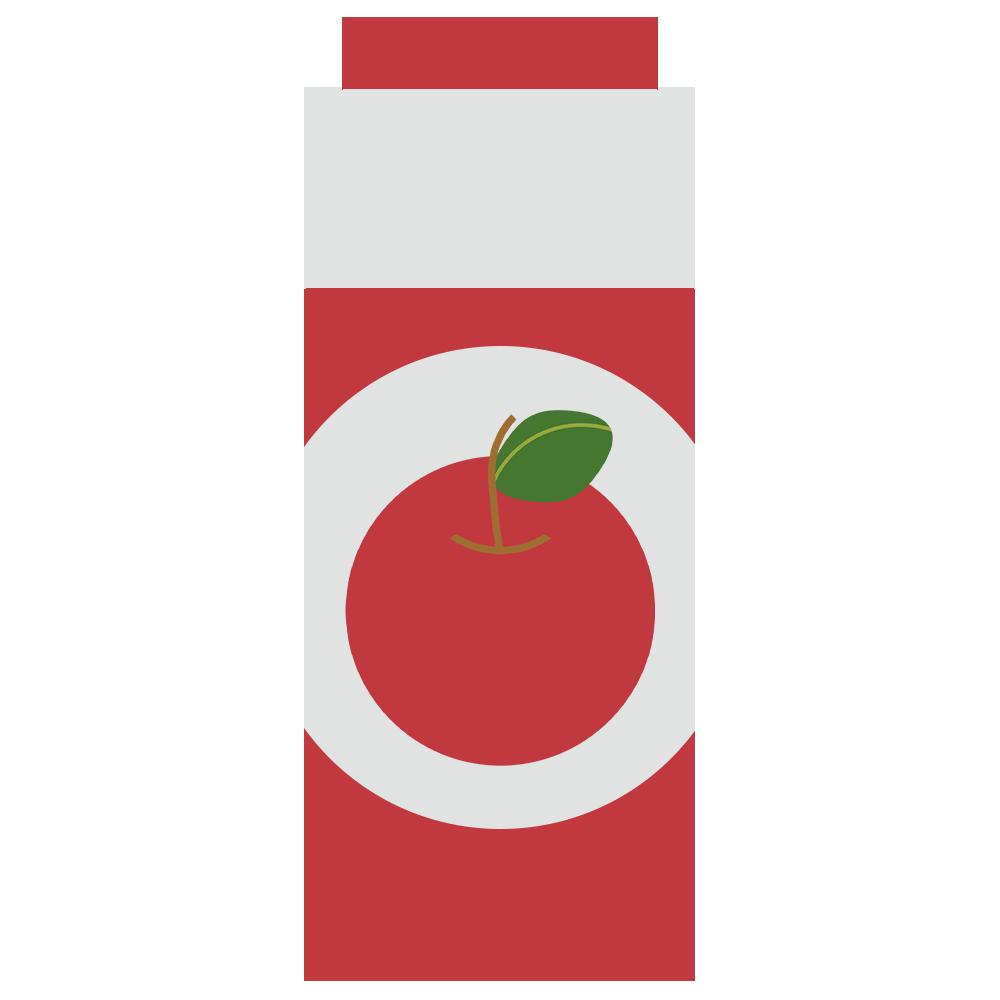 パックのりんごジュースのフリーイラスト