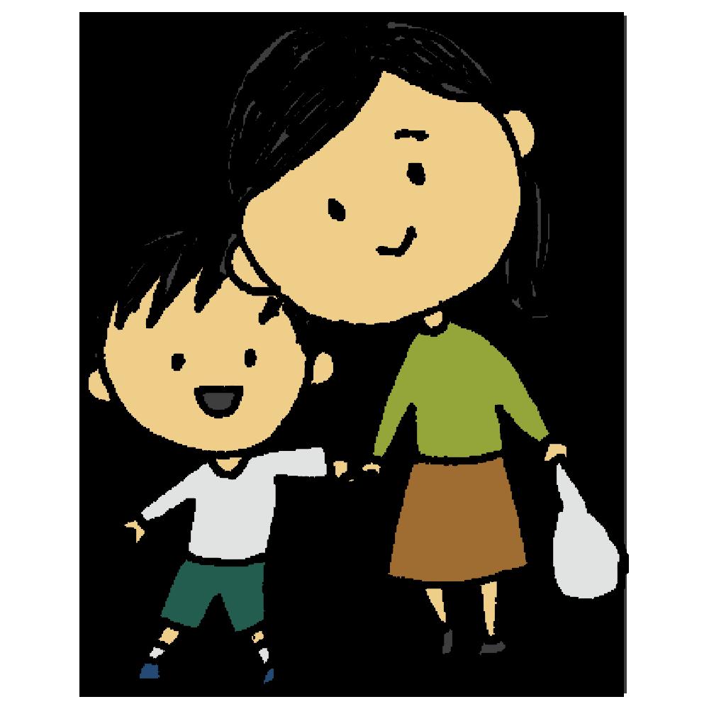 手書き風,人物,女性,男の子,手をつなぐ,お買い物,親子,母親,子供,家族,お出かけ,ファミリー,ショッピング,帰り道,仲良し