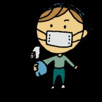 消毒,女性,手書き風,人物,掃除,除菌,風邪,対策,アルコール除菌,マスク,バンダナ,大掃除,年末,霧吹き,ミスト,スプレー,日用雑貨,生活用品,生活雑貨