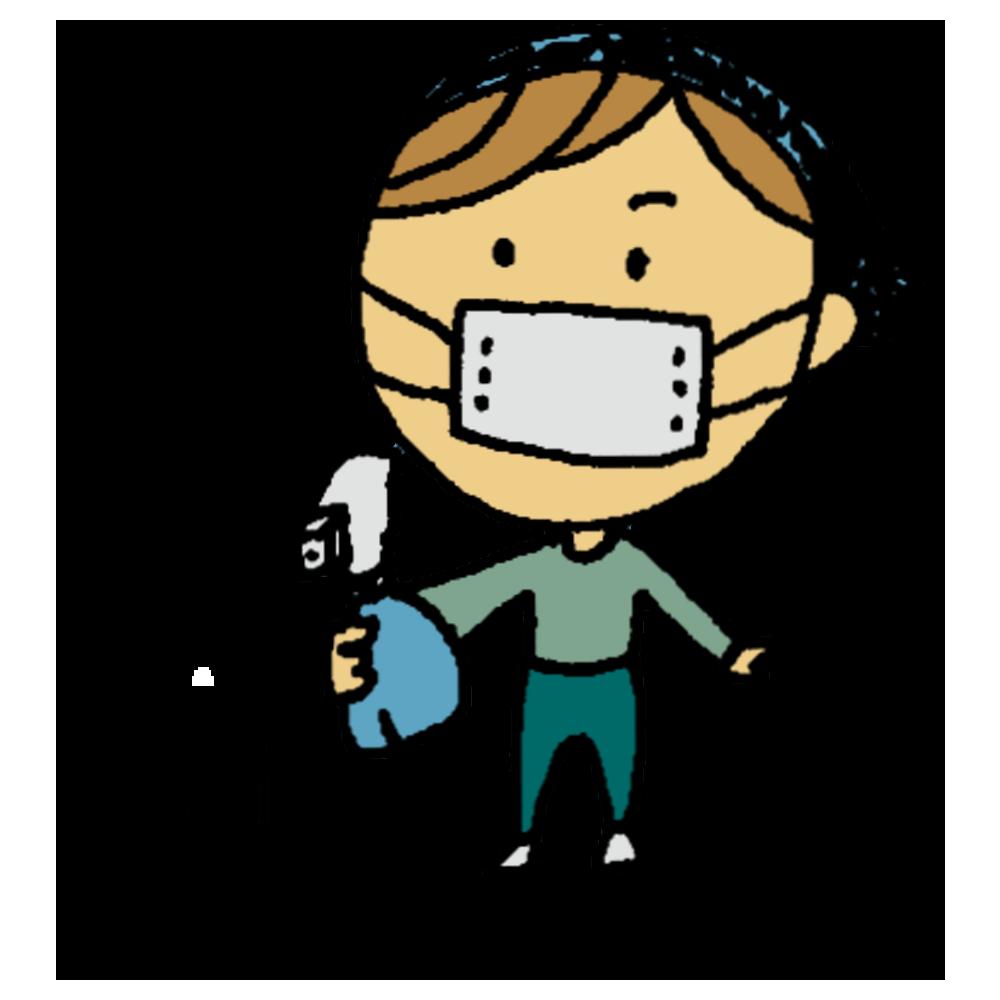 除菌スプレーをする女性のフリーイラスト