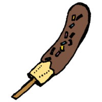 手書き風,チョコバナナ,バナナ,チョコ,屋台,お祭り,美味しい,料理,食べる,甘い,スイーツ,チョコレート