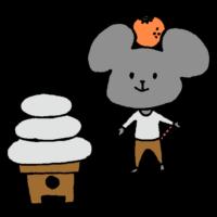 手書き風,ねずみ,ネズミ,鼠,子,年賀状,干支,十二支,年末,お正月,動物,鏡餅,鏡モチ,かがみもち,食べ物,お飾り